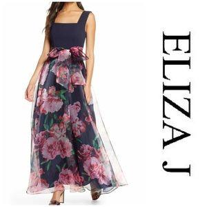 Eliza J Flower print gown - Navy Multi